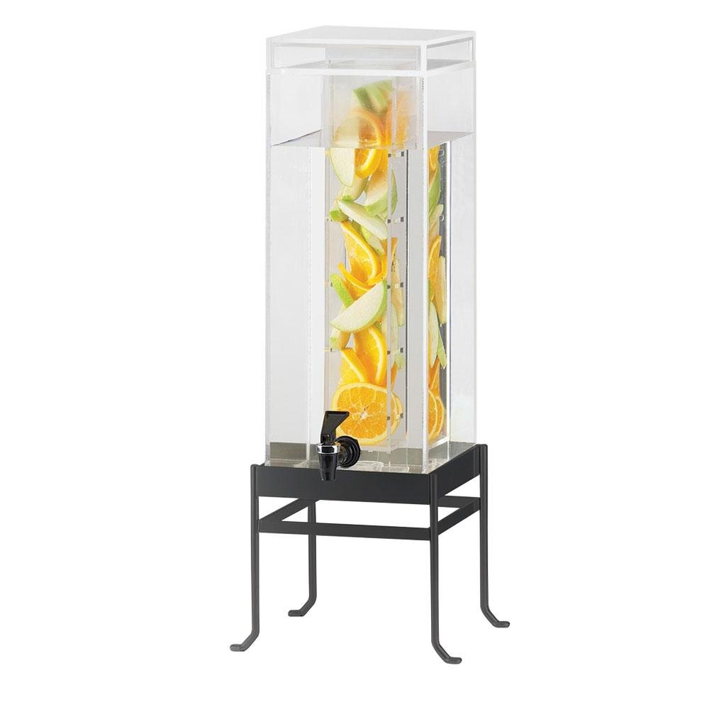 Cal Mil 1578-3INF-13 Black Soho 3 Gallon Square Acrylic Beverage Infusion Dispenser - 10 inch x 9 3/4 inch x 25 1/2 inch