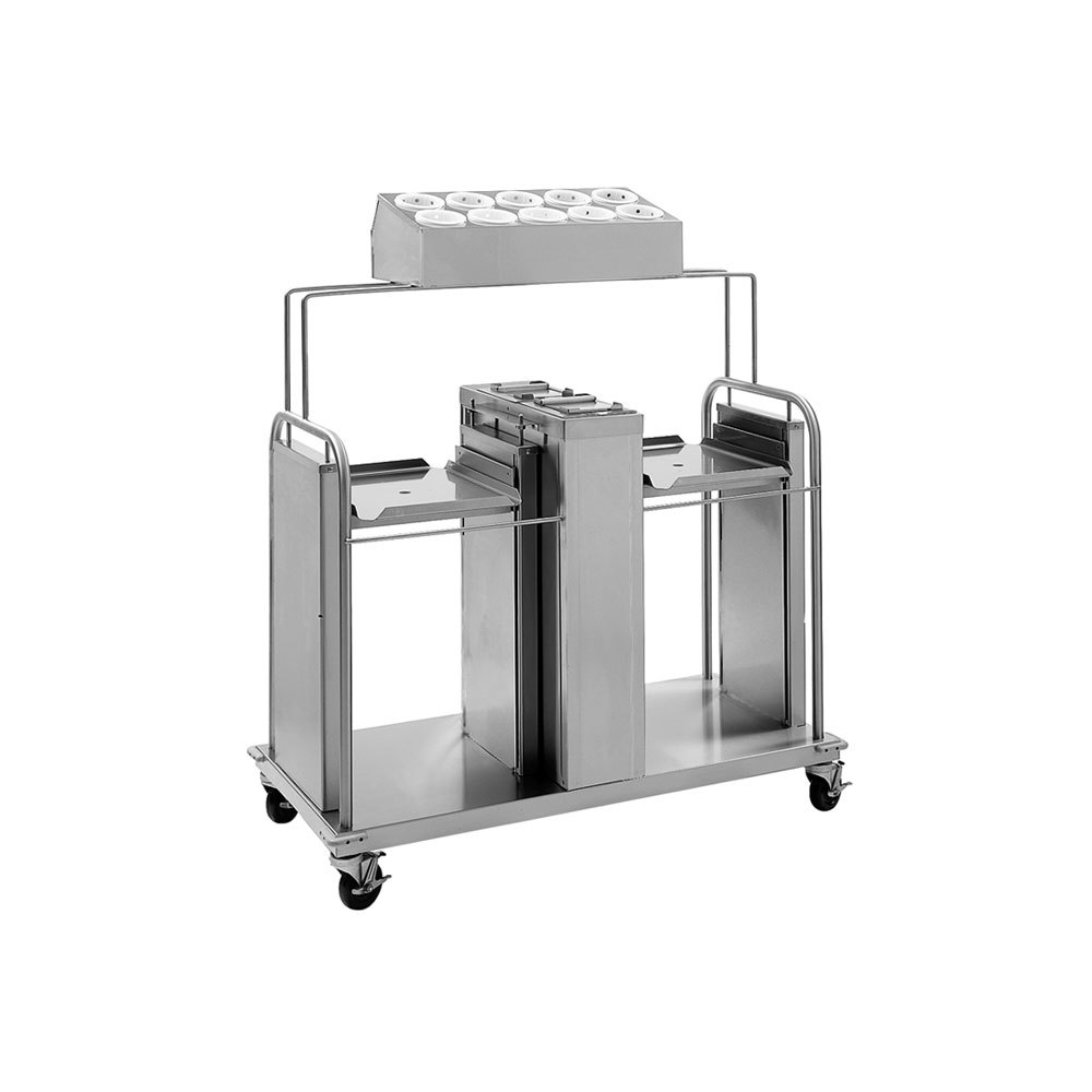 "Delfield FT2-SN-1418SS Stainless Steel Two Stack Tray and Napkin Dispenser with Silverware Bin - for 14"" x 18"" Food Trays"