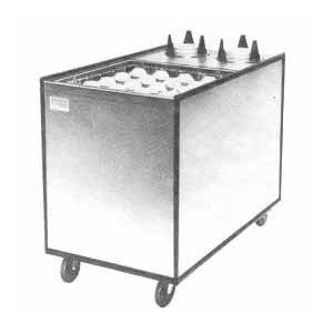 "APW Wyott Lowerator MCTRS-2020-6.5 Mobile Enclosed Combination 20"" x 20"" Glass Rack and 5 3/4"" to 6 1/2"" Saucer Dispenser"