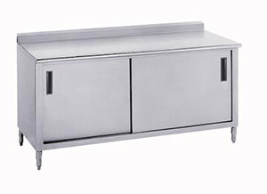 """Advance Tabco 14 Gauge Advance Tabco CF-SS-369M 36"""" x 108"""" Work Table with Cabinet Base and Mid Shelf - 1 1/2"""" Backsplash at Sears.com"""