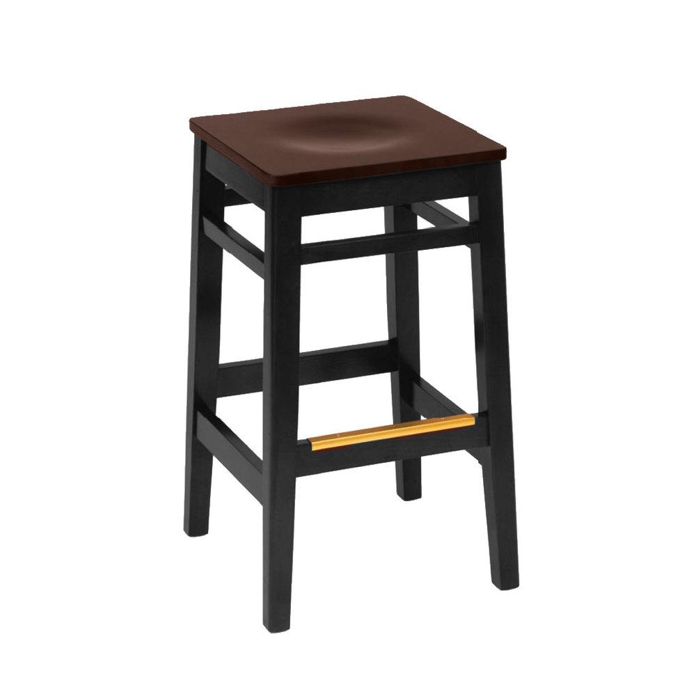 Bfm Seating Trevor Lwb680blw Black Finish Wood Barstool