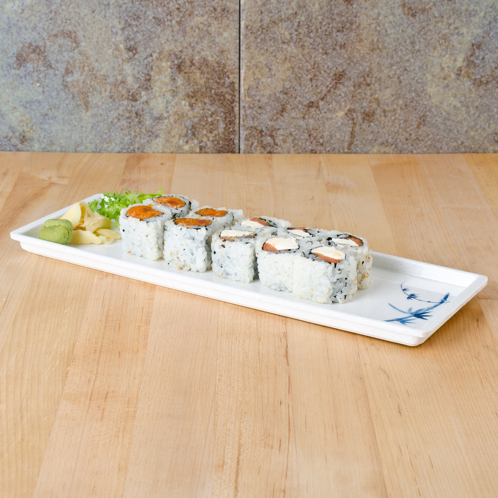 "Blue Bamboo 13 1/2"" x 4 1/2"" Melamine Sandwich Tray - 12/Pack"