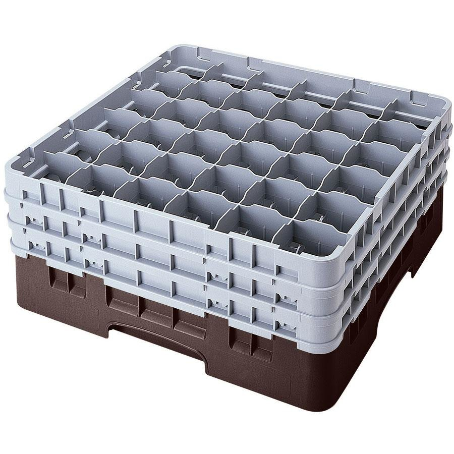 "Cambro 36S418167 Brown Camrack 36 Compartment 4 1/2"" Glass Rack"