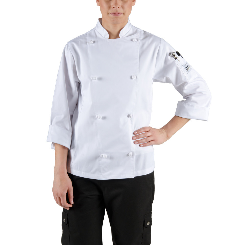 Chef Jacket - Poly-Cotton Blend with Cloth Knot Buttons Size 4 (S