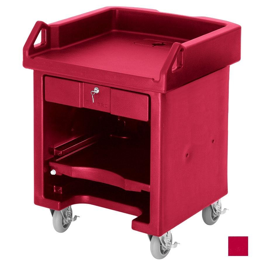 Cambro VCSHD158 Hot Red Versa Cart with Heavy Duty Casters