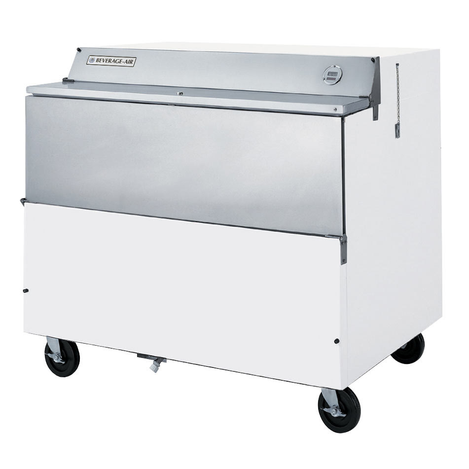 Beverage Air SMF49Y-1-W-02 White Exterior with Stainless Steel Interior Forced Air Milk Cooler 1 Sided - 49""