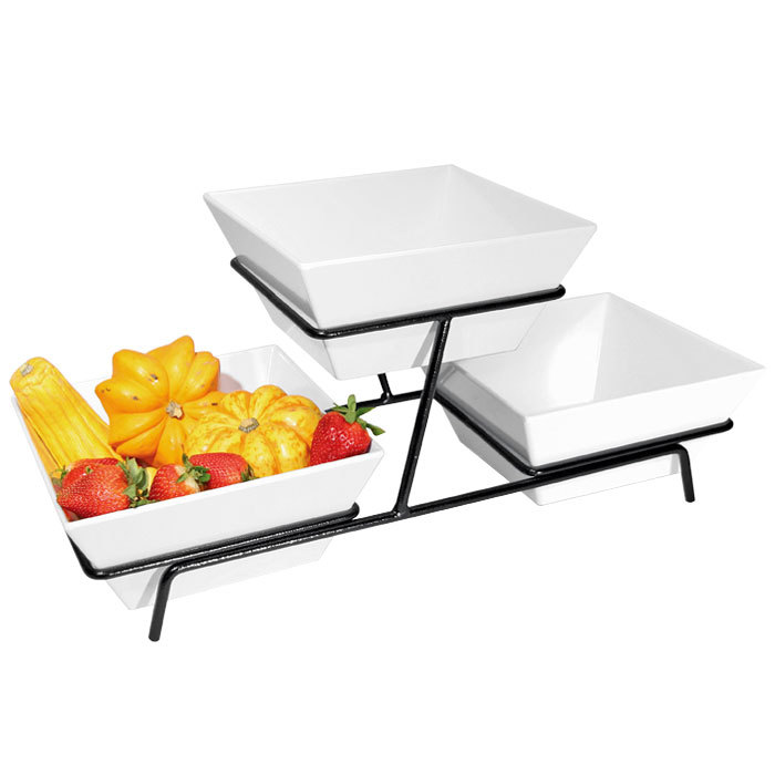 Cal-Mil SR2030-13 Black Two Tier Metal Wire Stand with Square ...