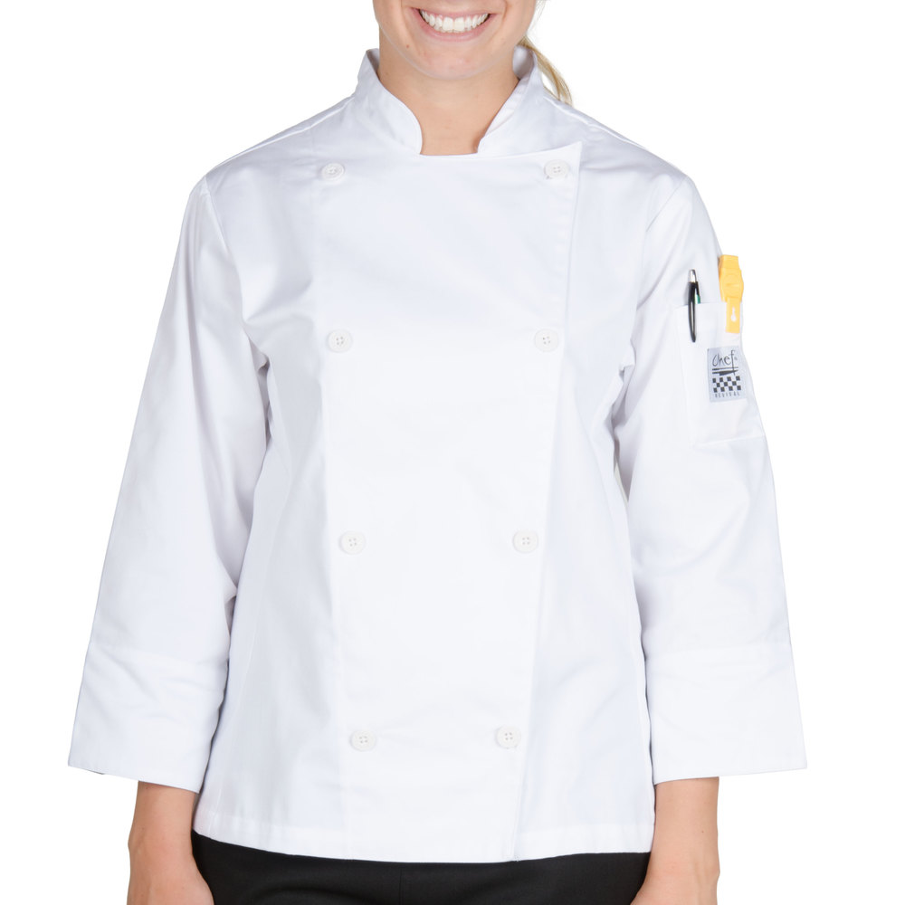 Chef Revival LJ027-L Knife and Steel Size 12 (L) White Customizable Ladies Long Sleeve Chef Jacket - Poly-Cotton Blend with Chef Logo White Buttons
