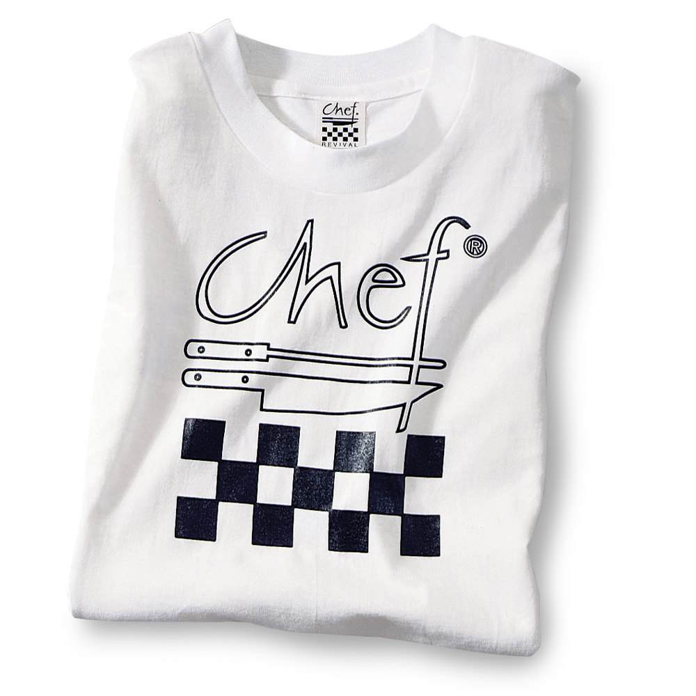 Chef Revival TS001-M Chef Logo White T-Shirt - Cotton Size M