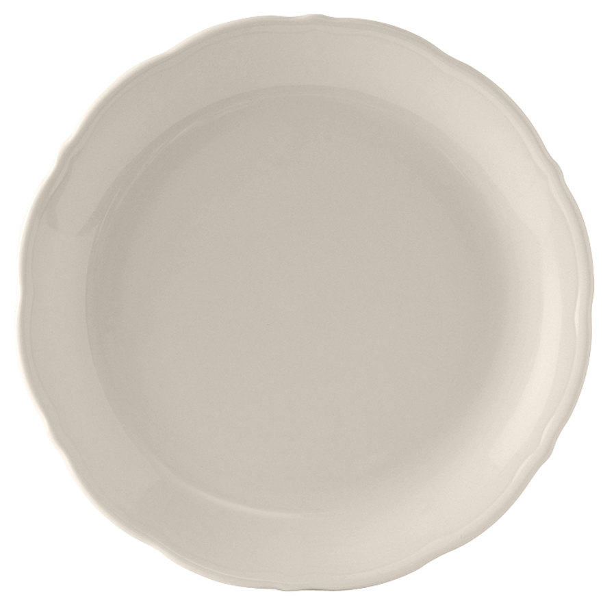 "Tuxton SEA-112 DuraTux Seabreeze 11 1/4"" Ivory (American White) China Plate - 12/Case"