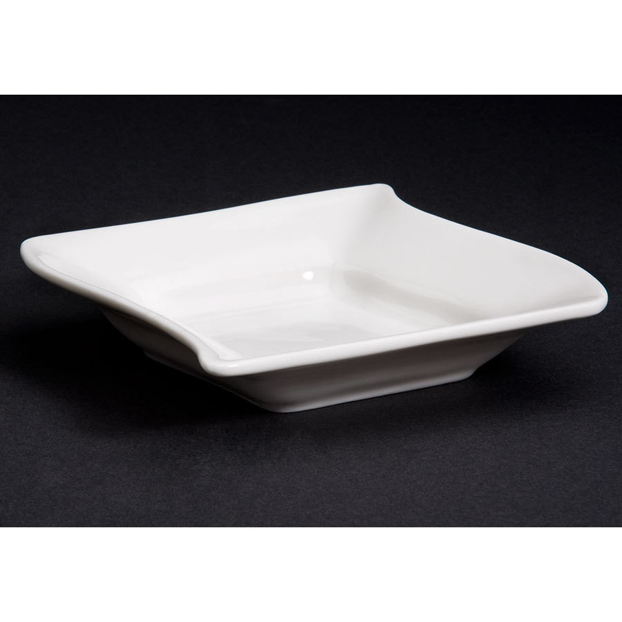 CAC SOH-11 Soho 6 oz. Ivory (American White) Square Stoneware Fruit / Monkey Dish - 36/Case