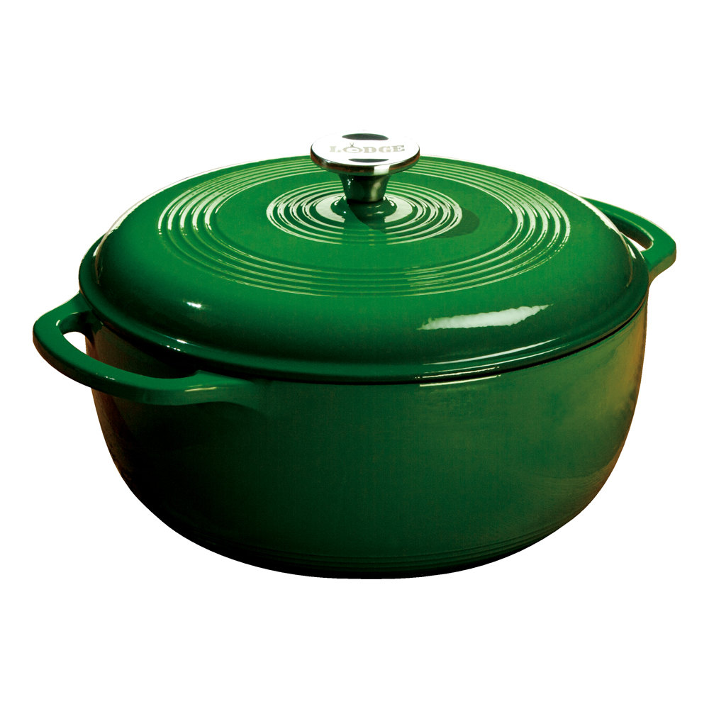 6 Quart Dutch Oven, Red. A flawless pairing of form and function that doesn't quit, the Lodge Dutch Oven is an enameled cast iron classic that's great for preparing and serving memorable meals. WHAT IS PORCELAIN ENAMEL ON CAST IRON? It is actually glass /5.