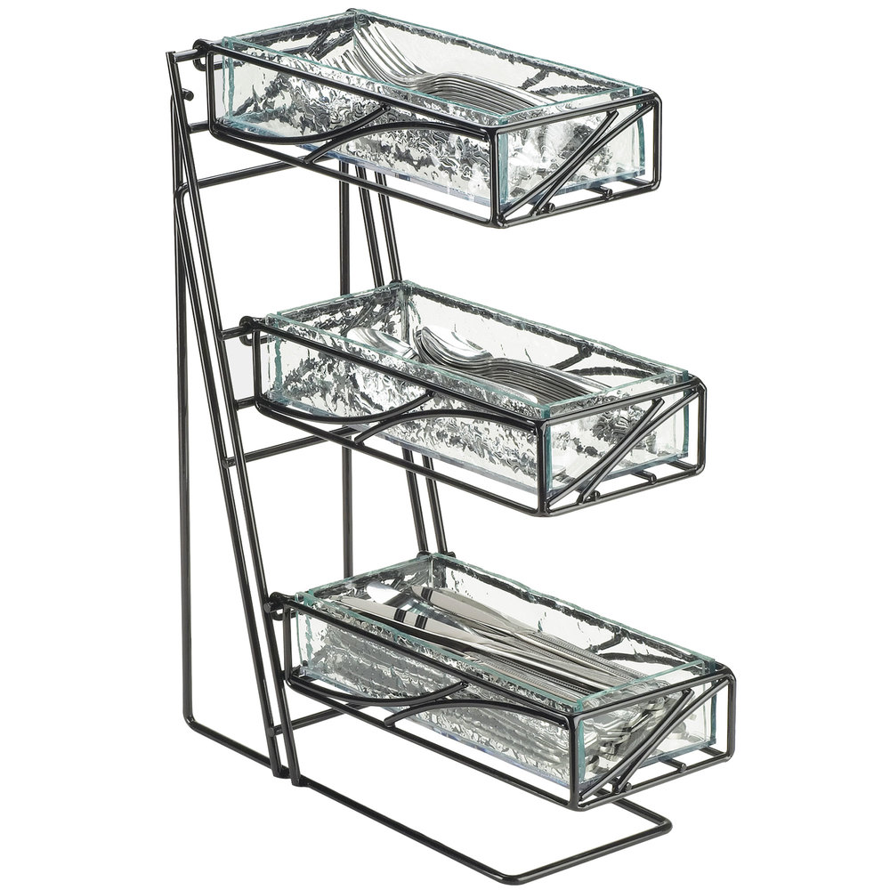 "Cal-Mil 1235-13-43 Black Wire Flatware / Condiment Display with Faux Glass Bins - 5 1/4"" x 14"" x 18"""