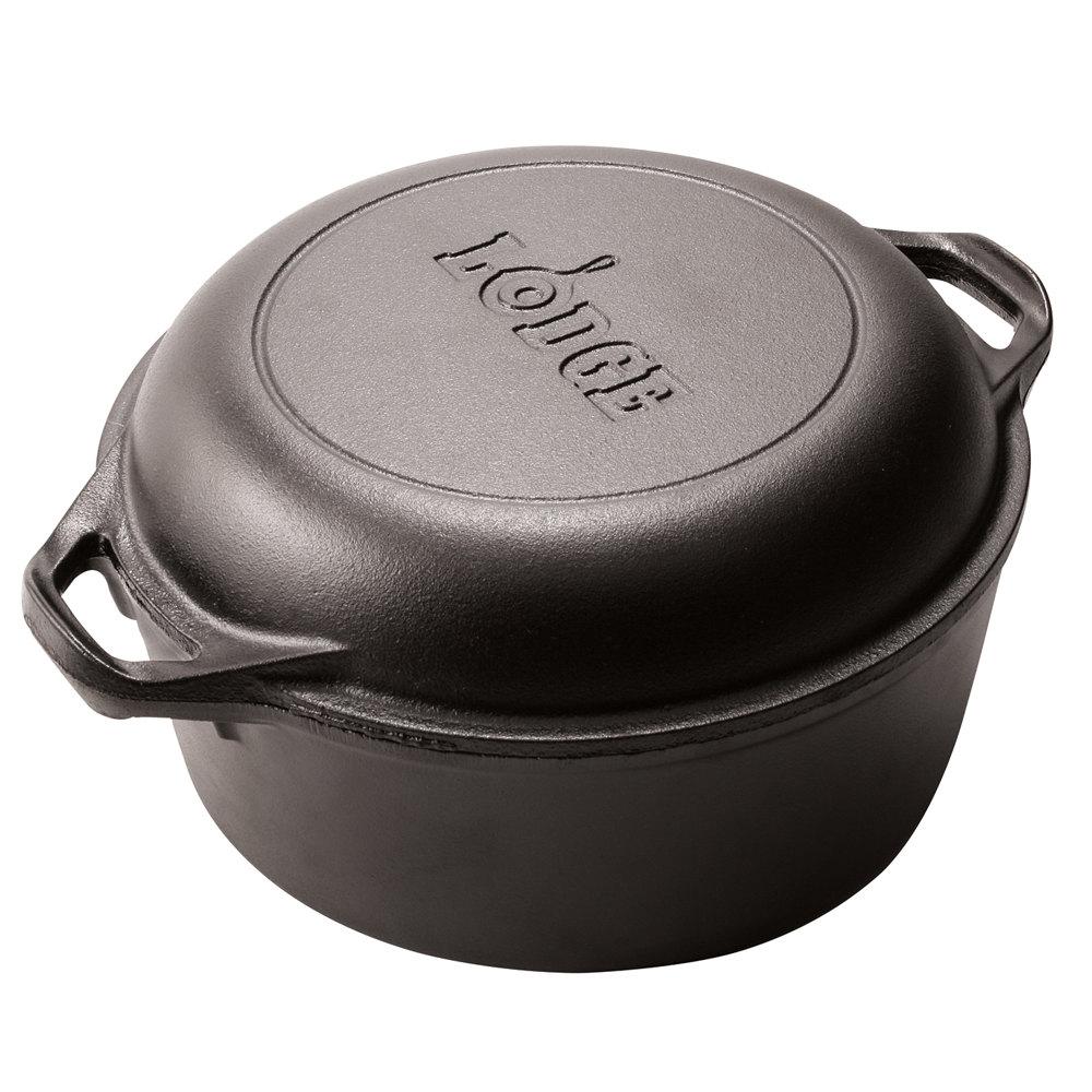 Lodge l dd qt pre seasoned cast iron double dutch oven