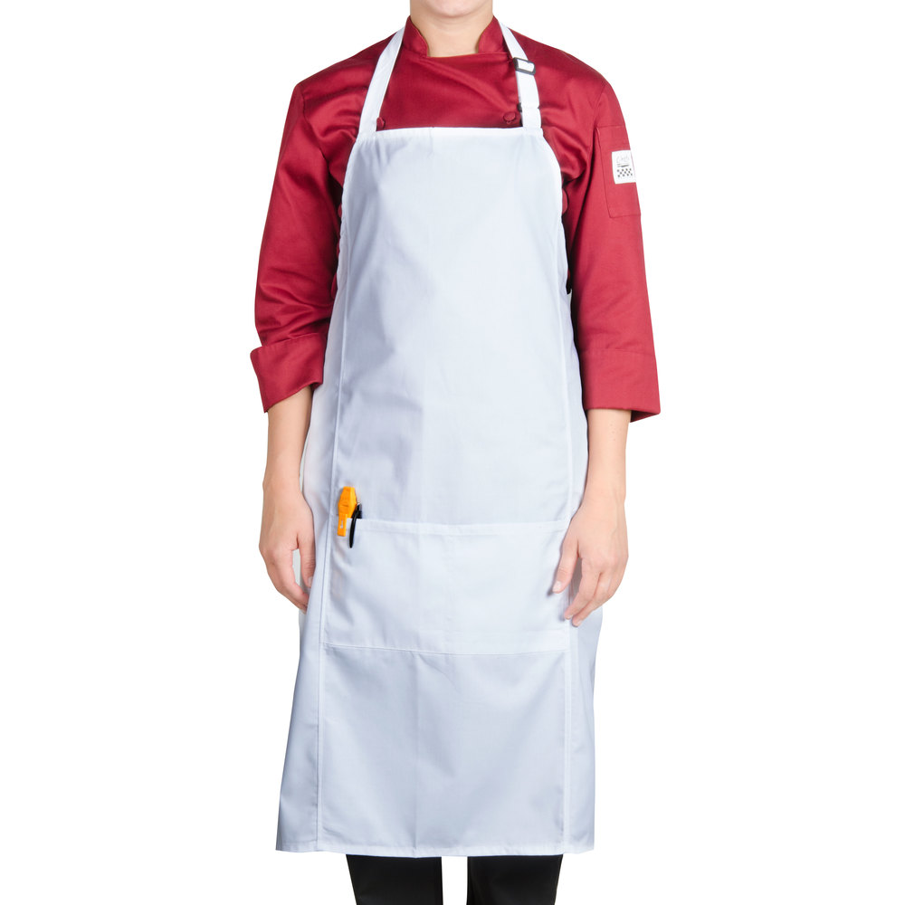 Apron Front : ... -WH Customizable White Bib Apron with Two Front Pockets - 38