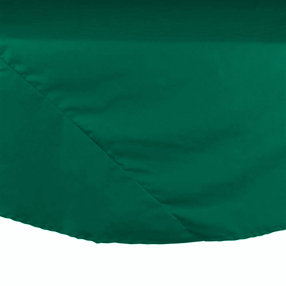 "90"" Green Round Hemmed Polyspun Cloth Table Cover"