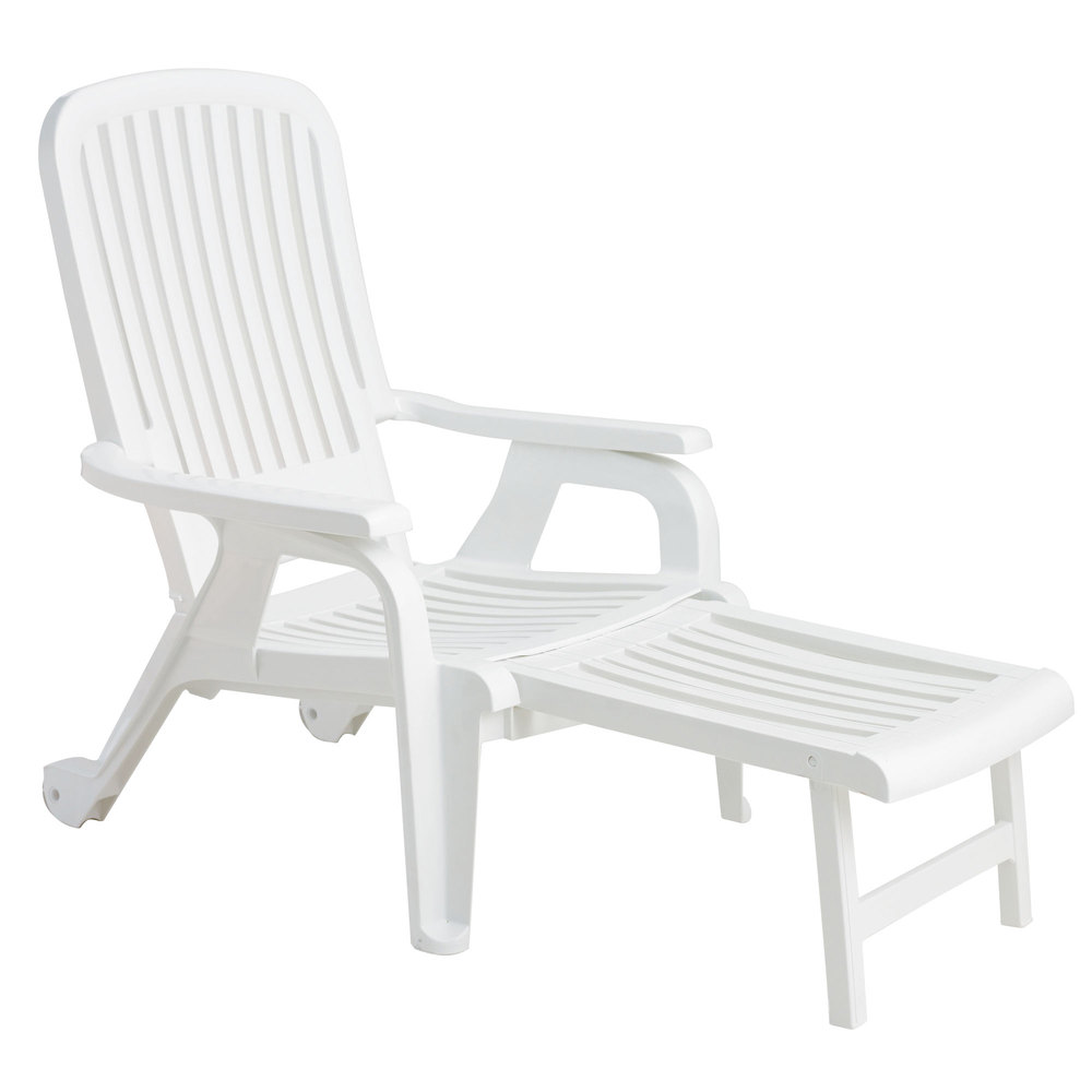 Grosfillex 47658004 white bahia stacking resin chair with pull out footrest 10 case - White resin stacking chairs ...