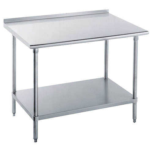 "16 Gauge Advance Tabco FLAG-304-X 30"" x 48"" Stainless Steel Work Table with 1 1/2"" Backsplash and Galvanized Undershelf"
