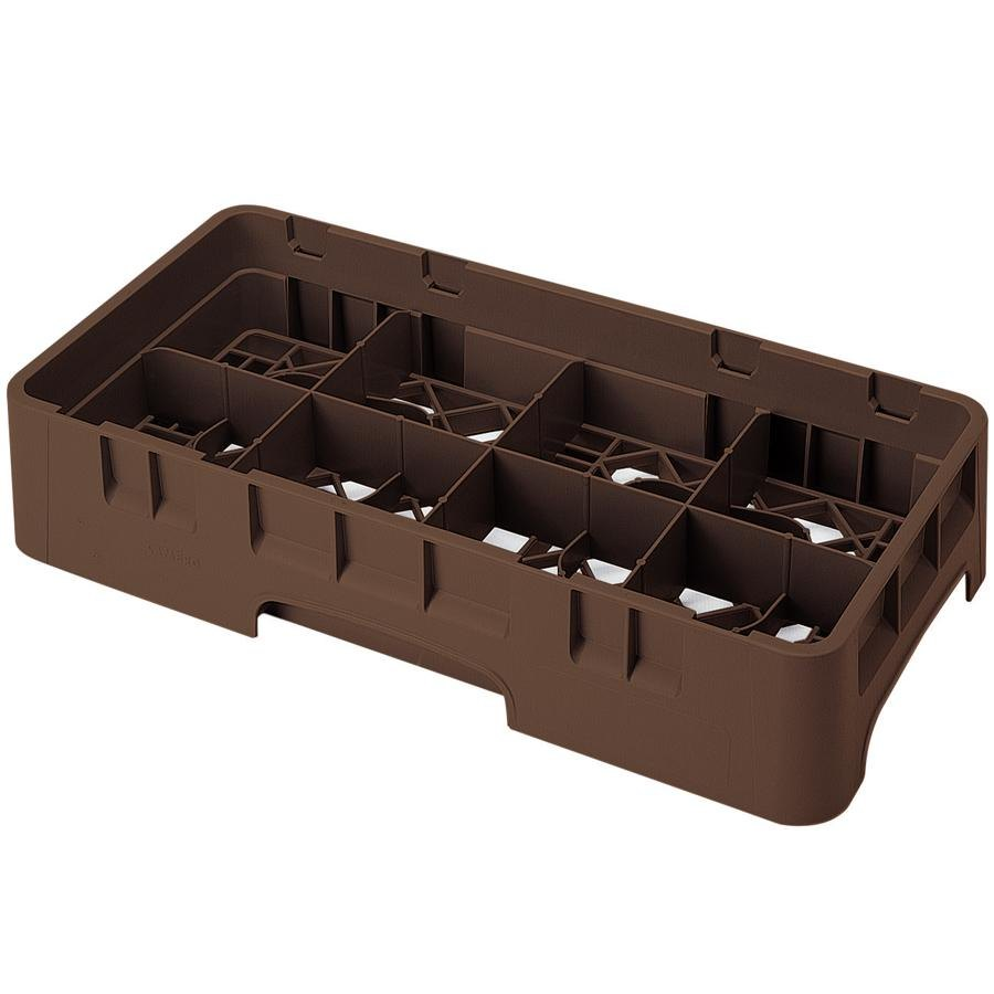 "Cambro 8HS1114167 Brown Camrack Customizable 8 Compartment 11 3/4"" Half Size Glass Rack"