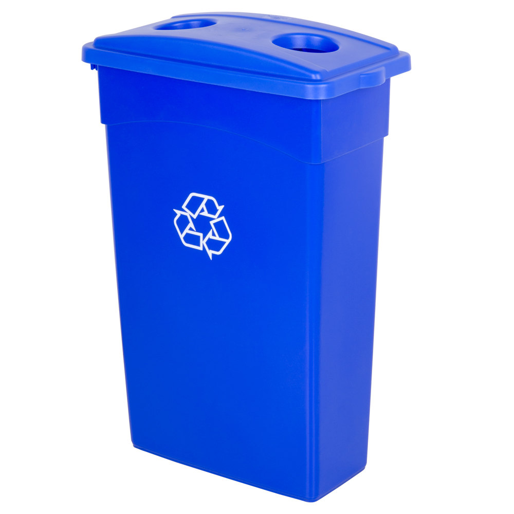 Continental 23 Gallon Blue Wall Hugger Recycling Trash Can