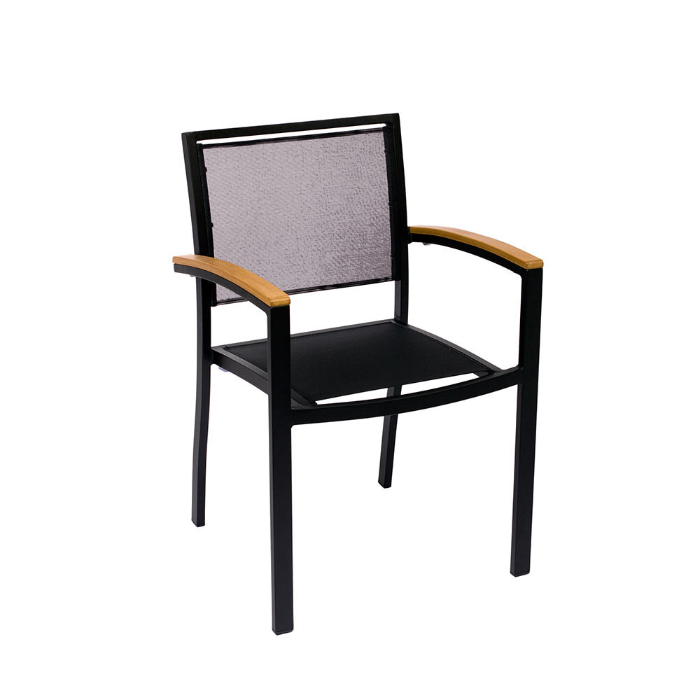 BFM Seating Delray PH101CBLBL Outdoor Chair with Arms Black Aluminum Frame