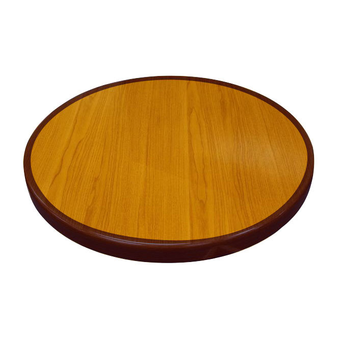 "American Tables & Seating ATR36 Resin Super Gloss 36"" Round Two Tone Table Top - Cherry and Mahogany"
