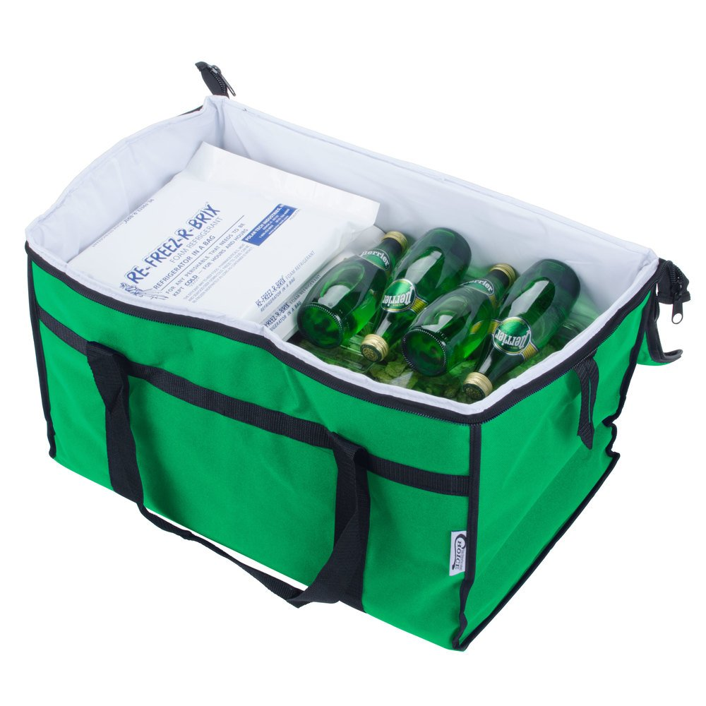 "Choice Soft Sided 22"" x 13"" x 14"" Green Insulated Nylon Cooler Bag with Foam Freeze Pack Kit"