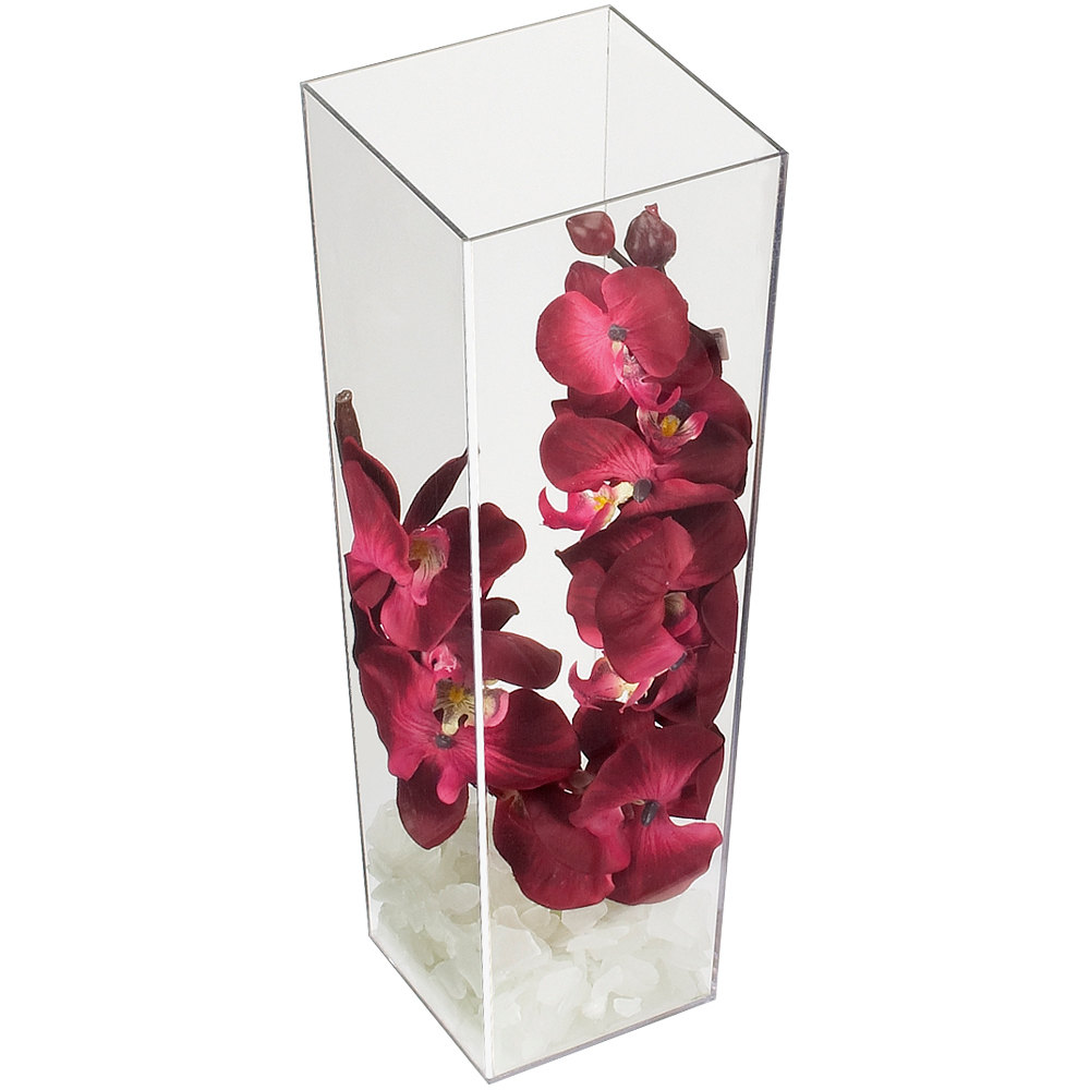 cal mil 879 16 5 x 16 square clear acrylic accent display vase. Black Bedroom Furniture Sets. Home Design Ideas
