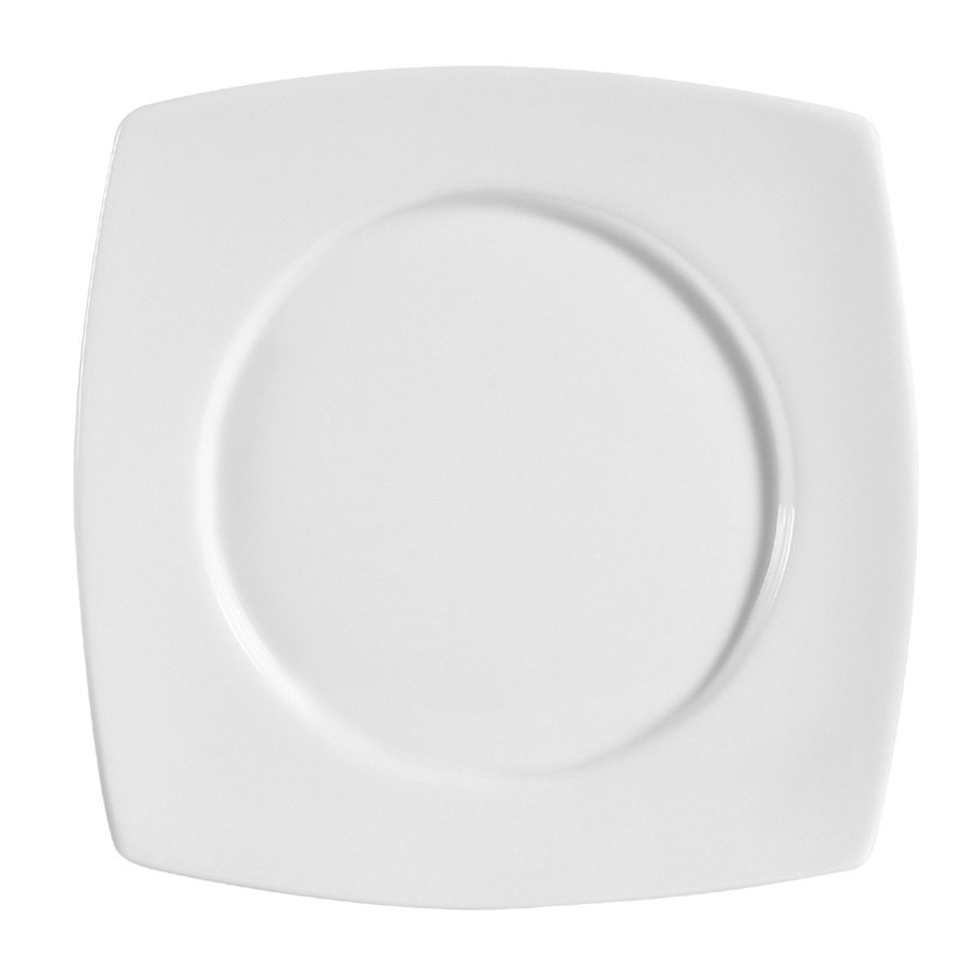 "CAC RCN-SQ5 Bright White Clinton 6"" Round in Square Plate - 36 / Case"
