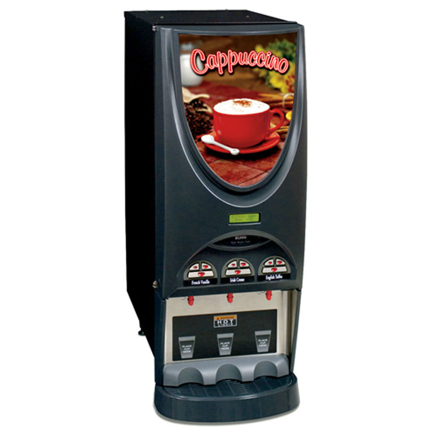 Bunn iMIX-3 BLK Powdered Cappuccino Dispenser with 3 Hoppers - 120V (Bunn 36900.0050)