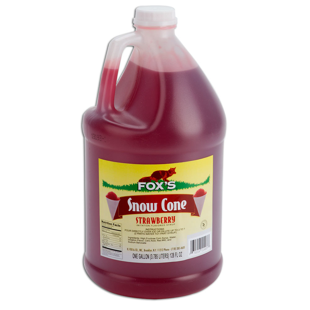 Fox's 1 Gallon Strawberry Snow Cone Syrup - 4/Case