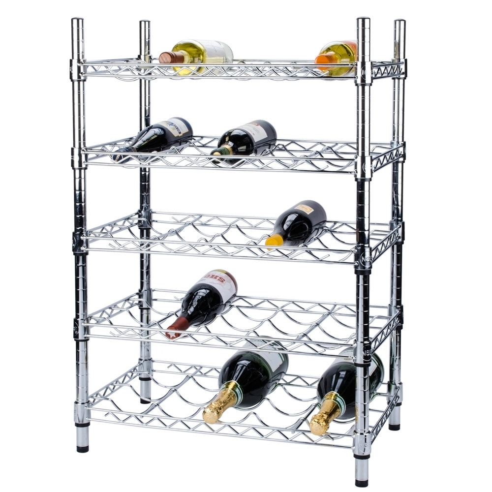 "Regency 14"" x 24"" 5 Shelf Wire Wine Rack with 34"" Posts - 25 Bottle Capacity"