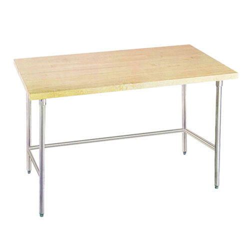 "Advance Tabco TH2S-304 Wood Top Work Table with Stainless Steel Base - 30"" x 48"""