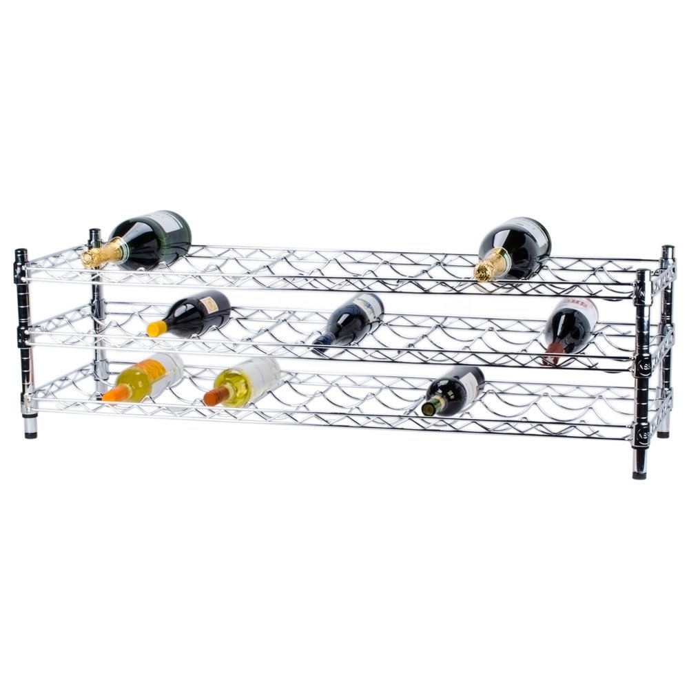 "Regency 14"" x 48"" 3 Shelf Wire Wine Rack with 14"" Posts - 33 Bottle Capacity"