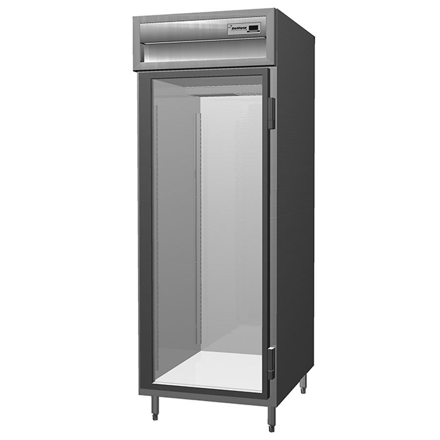 Delfield SSR1S-G Stainless Steel 18 Cu. Ft. One Section Glass Door Shallow Reach In Refrigerator - Specification Line