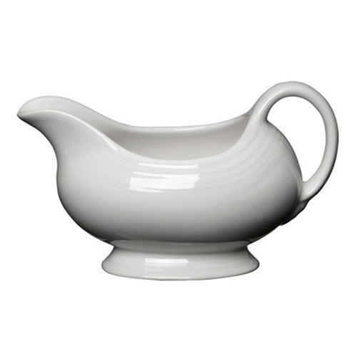 Homer Laughlin 486100 Fiesta White 18.5 oz. Sauce Boat - 4 / Case