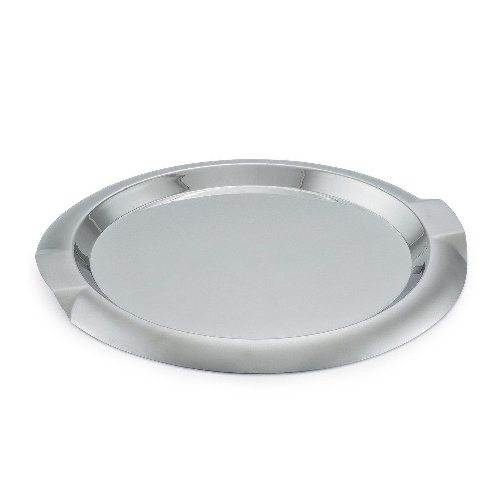 Vollrath 82096 Round Stainless Steel Serving Tray with Handles - 12""