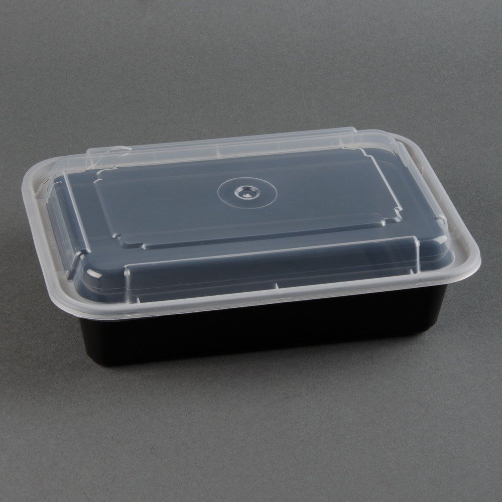 Newspring NC-888-B Black 38 oz. VERSAtainer 6 inch x 8 1/2 inch x 2 inch Rectangular Microwavable Container with Lid 150/Case