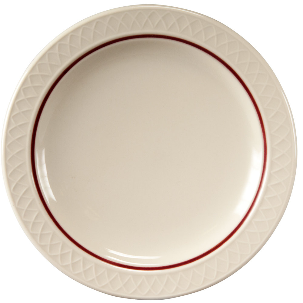 "Homer Laughlin 1492-0345 Gothic Red Jade 7 1/4"" Narrow Rim Off White Plate - 36/Case"