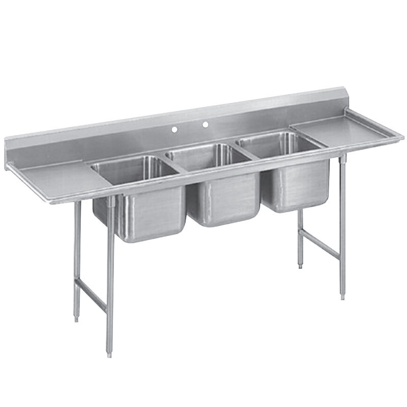 Advance Tabco 9-63-54-18RL Super Saver Three Compartment Pot Sink with Two Drainboards - 97""