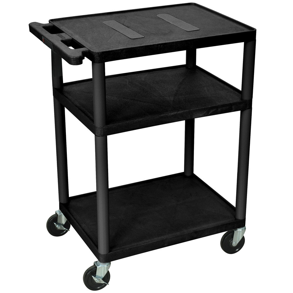 Luxor le34 b black endura 34 three shelf av cart with three outlets main picture sciox Gallery