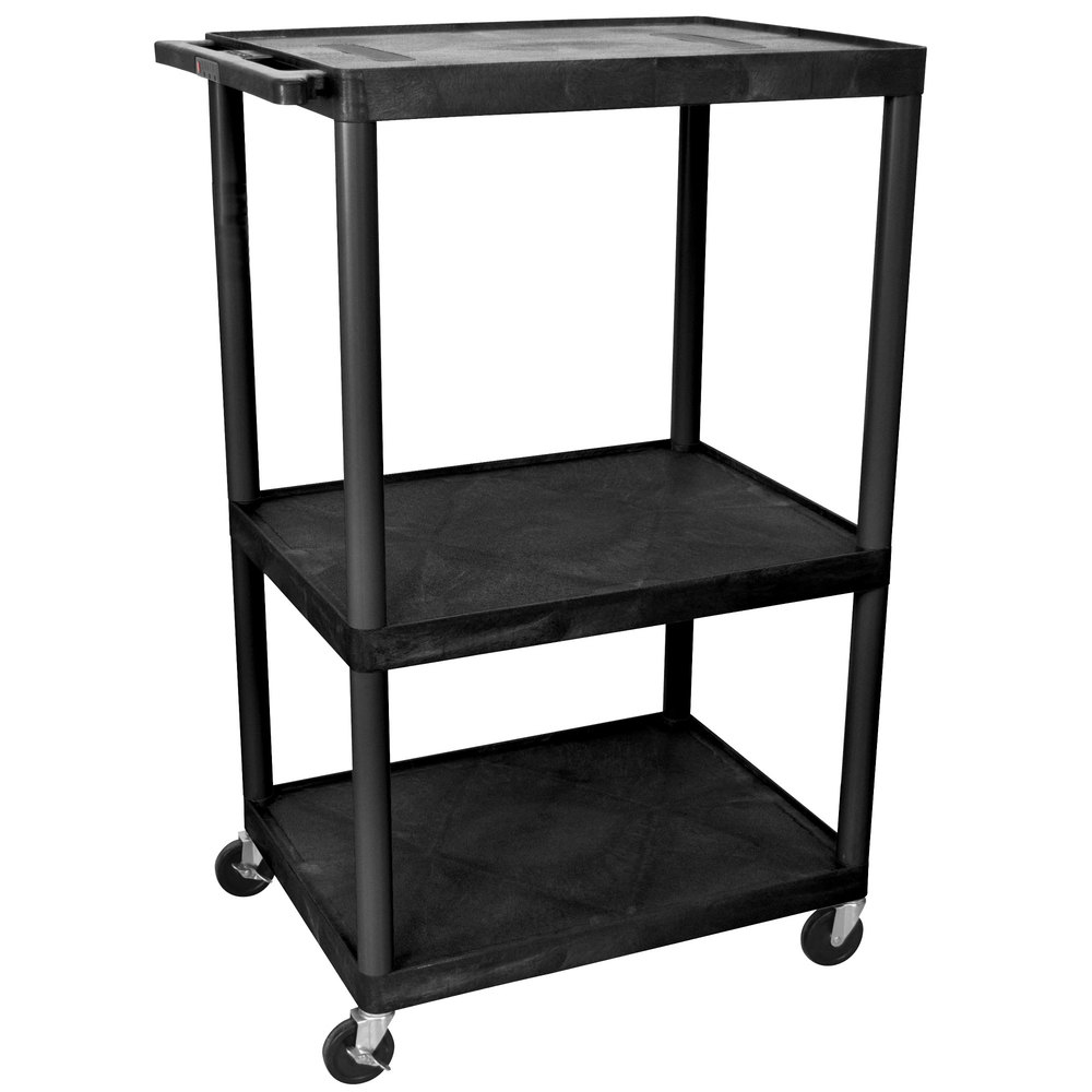 Luxor le54 b black endura 54 three shelf av cart with three outlets main picture sciox Gallery
