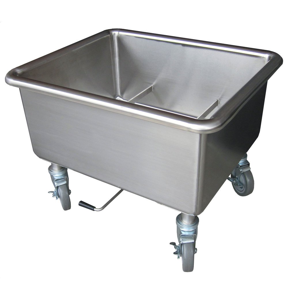 Steril-Sil E1-SK-2 Mobile Two Basket Silverware Soak Sink