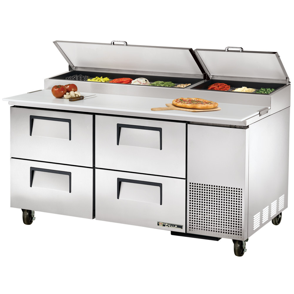 "True TPP-67D-4 67"" Four Drawer Refrigerated Pizza Prep Table"