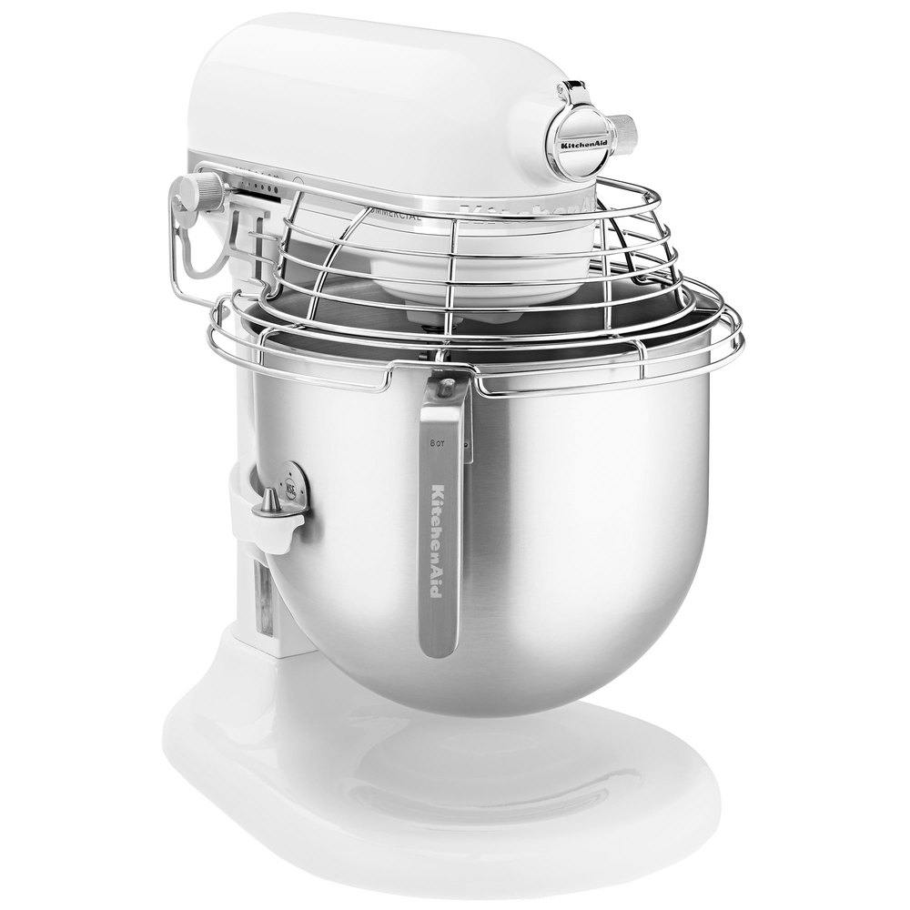 Kitchenaid Ksmc895wh White Nsf 8 Qt Bowl Lift Commercial Stand Mixer With Stainless Steel Bowl