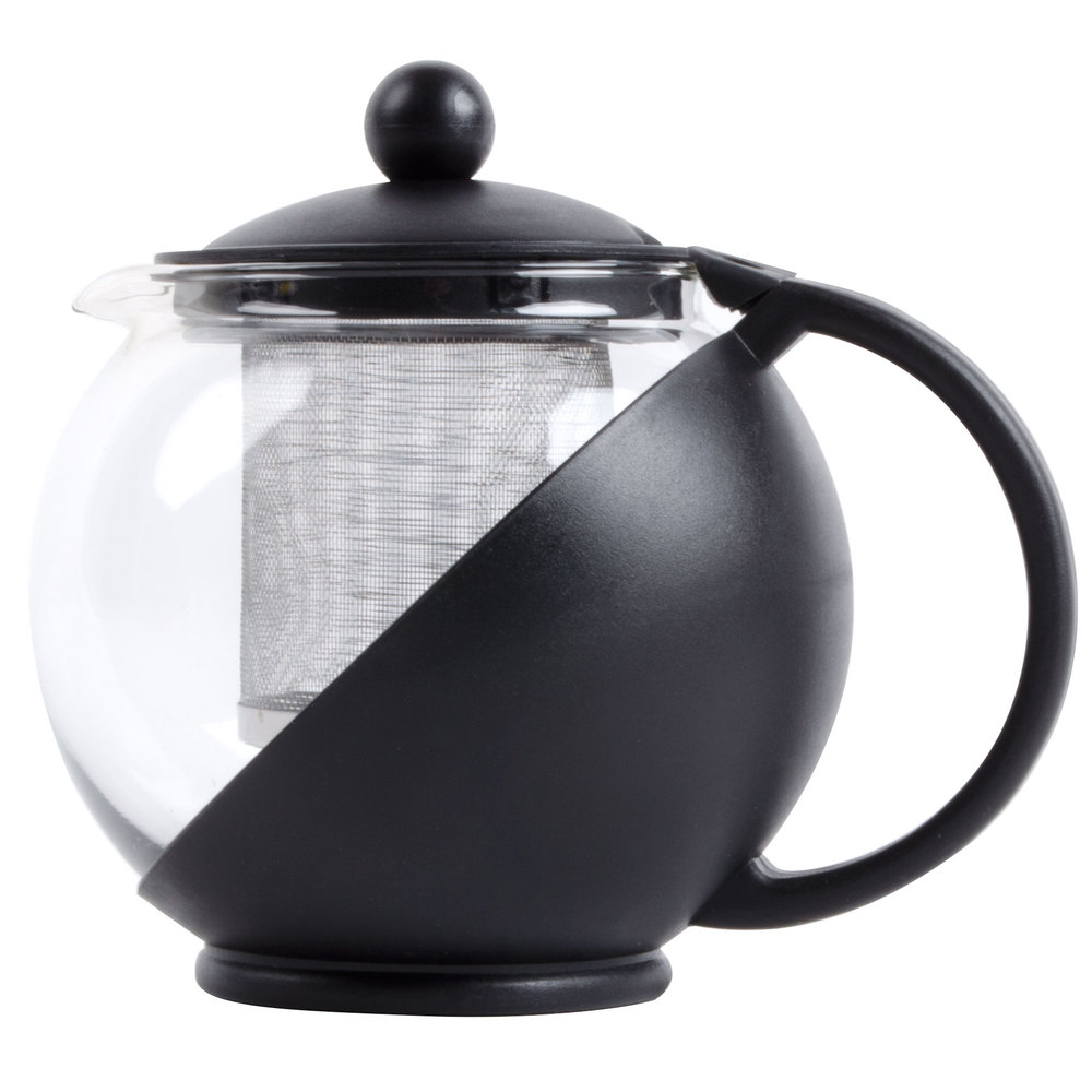 Oz tempered glass tea pot infuser with stainless steel