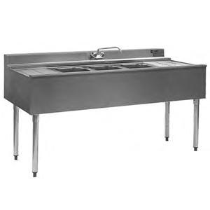"Eagle Group B7C-22 84"" Underbar Sink with Three Compartments and Two Drainboards"