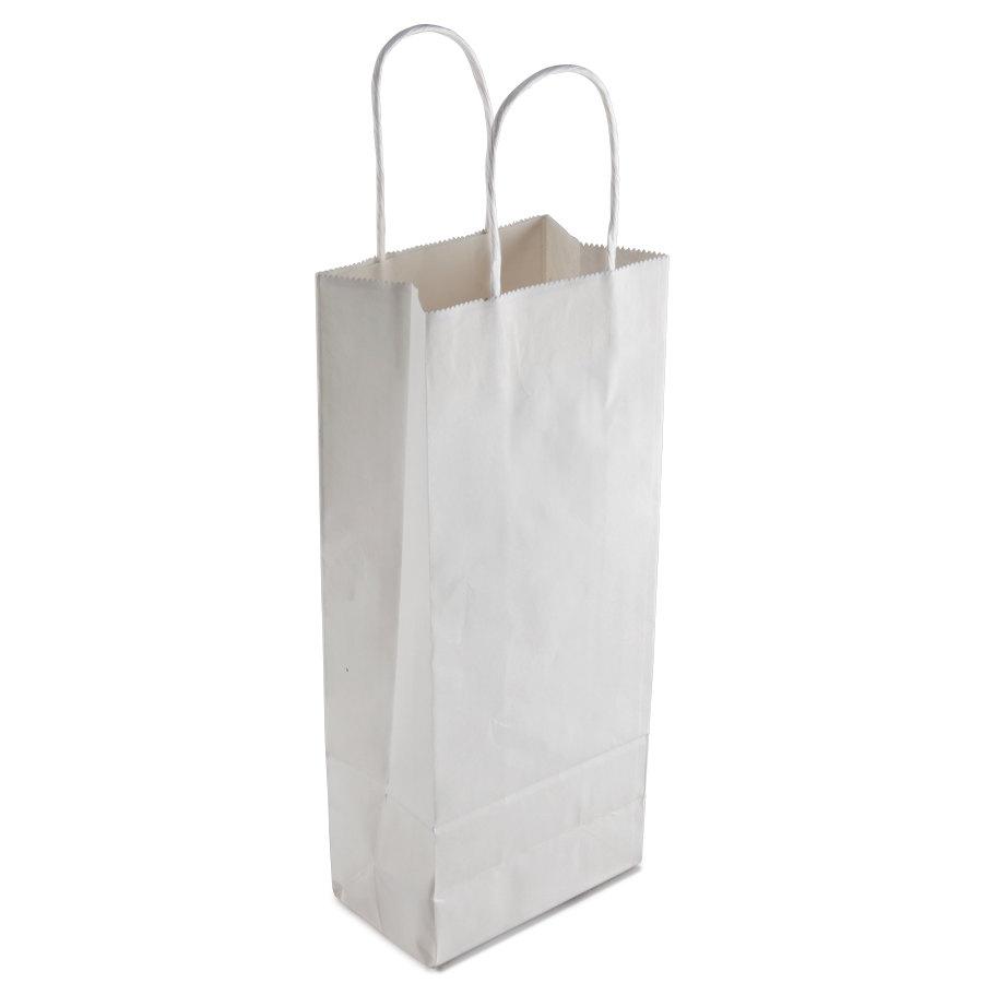 "Vino White Paper Wine Shopping Bag With Handles 5"" X 3"" X"