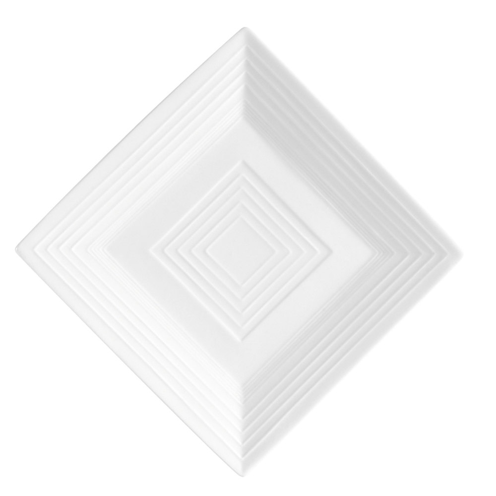 "CAC TGO-SQ21 Tango 12"" Bone White Square Porcelain Plate - 12/Case"