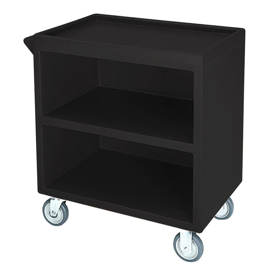 Cambro BC330 Black Three Shelf Service Cart with Three Enclosed Sides - 33 1/8 inch x 20 inch x 34 5/8 inch